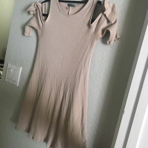 Cream colored mini dress partial sleeves (tied)